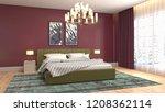 bedroom interior. 3d... | Shutterstock . vector #1208362114