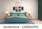 bedroom interior. 3d... | Shutterstock . vector #1208362951