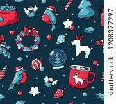 cute doodle christmas elements... | Shutterstock .eps vector #1208377297