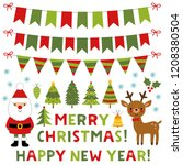 christmas vector set with santa ... | Shutterstock .eps vector #1208380504