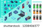 isometric chargers for modern... | Shutterstock .eps vector #1208406577