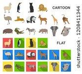different animals cartoon icons ... | Shutterstock .eps vector #1208411344