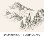 alpine sketch  mountain ranges... | Shutterstock .eps vector #1208420797
