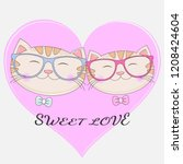 lovely two cats in glasses with ... | Shutterstock .eps vector #1208424604