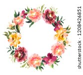 watercolor wreath with flowers... | Shutterstock . vector #1208426851