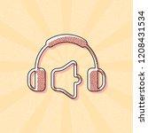 headphones and volume level.... | Shutterstock .eps vector #1208431534