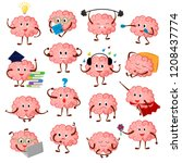 brain emotion vector cartoon... | Shutterstock .eps vector #1208437774