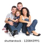 beautiful smiling happy family... | Shutterstock . vector #120843991