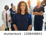 smiling young female doctor... | Shutterstock . vector #1208448841