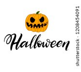 halloween pumpkin vector on... | Shutterstock .eps vector #1208454091