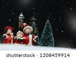 christmas caroling or carolers ... | Shutterstock . vector #1208459914