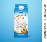 isolated almond milk in paper... | Shutterstock .eps vector #1208460004