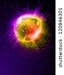 sparkling disco ball on orange...   Shutterstock .eps vector #120846301