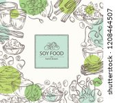 background with different soy... | Shutterstock .eps vector #1208464507