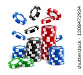 falling casino chips or stack... | Shutterstock .eps vector #1208472934
