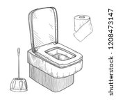 sketch of toilet bowl and other ... | Shutterstock .eps vector #1208473147