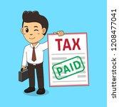cartoon a businessman paid tax... | Shutterstock .eps vector #1208477041