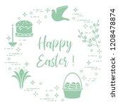 easter symbols. easter cake ... | Shutterstock .eps vector #1208478874