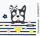 cute french bulldog vector... | Shutterstock .eps vector #1208483977