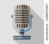 retro microphone icon in flat... | Shutterstock .eps vector #1208491807