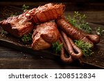 smoked meats and sausages. a... | Shutterstock . vector #1208512834