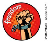 freedom hand torn chain icon...   Shutterstock .eps vector #1208514874