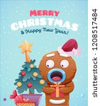 merry christmas greeting cards... | Shutterstock .eps vector #1208517484