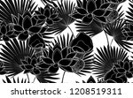 black lotus flowers and palm... | Shutterstock .eps vector #1208519311