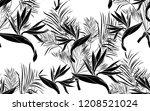 black kentia leaves and bird of ... | Shutterstock .eps vector #1208521024