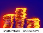 gold coins on black background. ... | Shutterstock . vector #1208536891