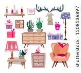 big set of vintage elements ...   Shutterstock .eps vector #1208536897