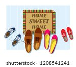 home sweet home. the entrance... | Shutterstock .eps vector #1208541241