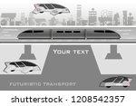 futuristic train. flying cars.... | Shutterstock .eps vector #1208542357