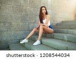 beautiful young sexy girl... | Shutterstock . vector #1208544034
