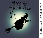 silhouette of a witch on a... | Shutterstock . vector #1208583907