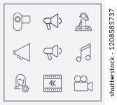outline 9 sound icon set. user... | Shutterstock .eps vector #1208585737