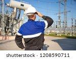 electrician engineer on power... | Shutterstock . vector #1208590711