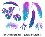 tropical leaves set in neon ... | Shutterstock .eps vector #1208592064