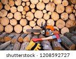 Axe In Stump. Axe Ready For...