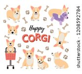 Stock vector cute corgi puppy set funny dogs vector isolated happy pets playing cartoon illustration 1208592784