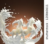 milky horses running over white splashes through drops on brownish background - stock photo
