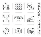 Bundle Thin Line Pictograms Symbols Flowchart Stock Vector