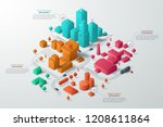 modern isometric or 3d location ... | Shutterstock .eps vector #1208611864