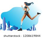 a girl with a prosthetic leg is ... | Shutterstock .eps vector #1208619844