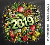 2019 hand drawn doodles chalk... | Shutterstock .eps vector #1208620231