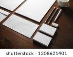 photo of blank stationery set... | Shutterstock . vector #1208621401