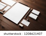 blank stationery set on wooden... | Shutterstock . vector #1208621407