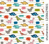 cartoon cute dinosaurs with...   Shutterstock .eps vector #1208629801