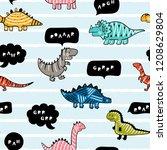 cartoon cute dinosaurs with...   Shutterstock .eps vector #1208629804