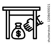 under table money bag icon.... | Shutterstock .eps vector #1208650021